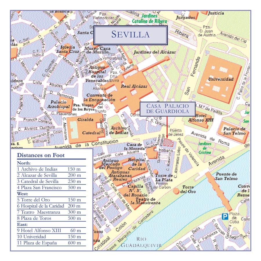 La Casa de Guardiola está en la Puerta de Jerez, Nº 5, en Sevilla